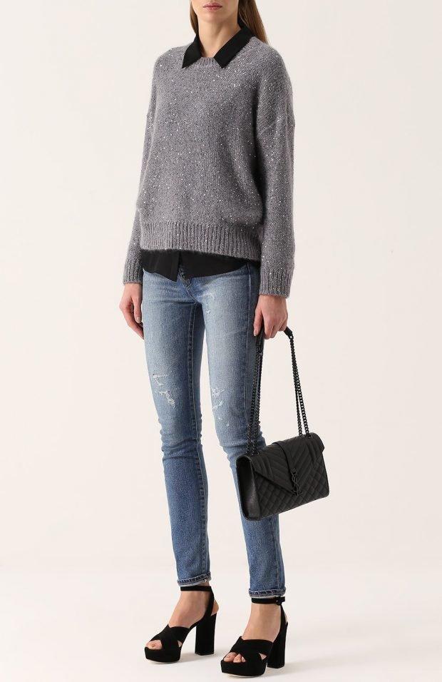 синие узкие джинсы для базового гардероба 2019 2020