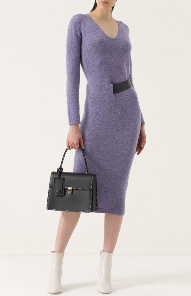 фиолетовое платье миди для базового гардероба