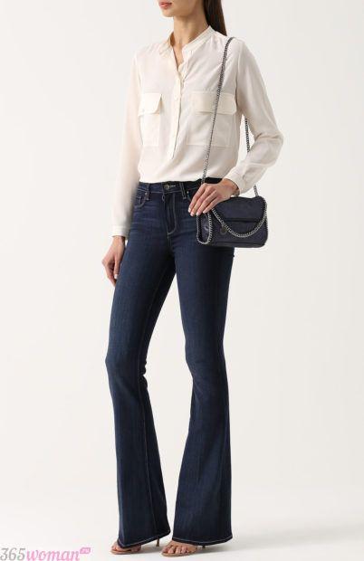расклешенные темные джинсы для базового гардероба 2018