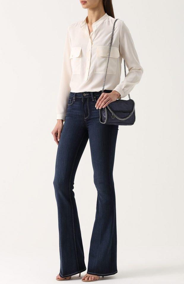 расклешенные темные джинсы для базового гардероба 2020 2021