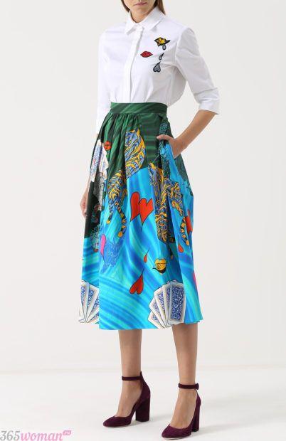 юбка миди с рисунком для базового гардероба 2018