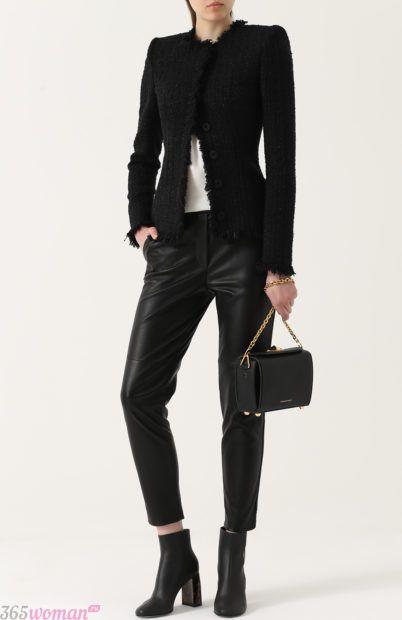 черная сумка в модном образе для базового гардероба 2018