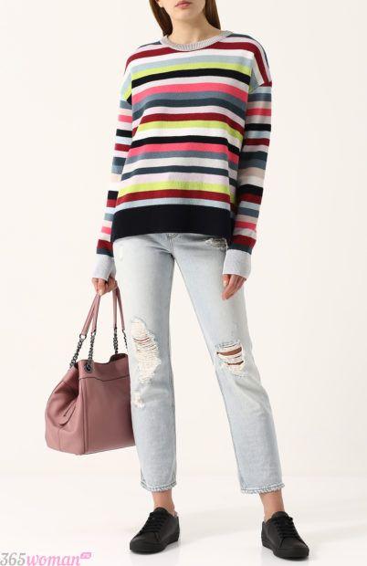 яркий свитер в полоску для базового гардероба 2018
