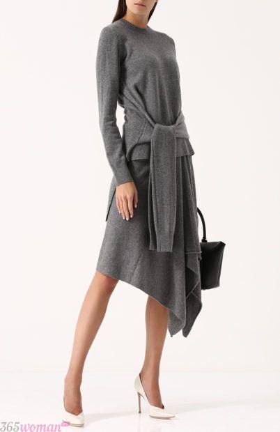 серое асимметричное платье для базового гардероба 2018
