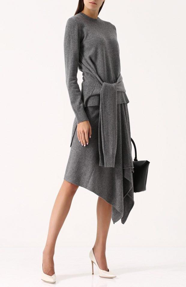 серое асимметричное платье для базового гардероба