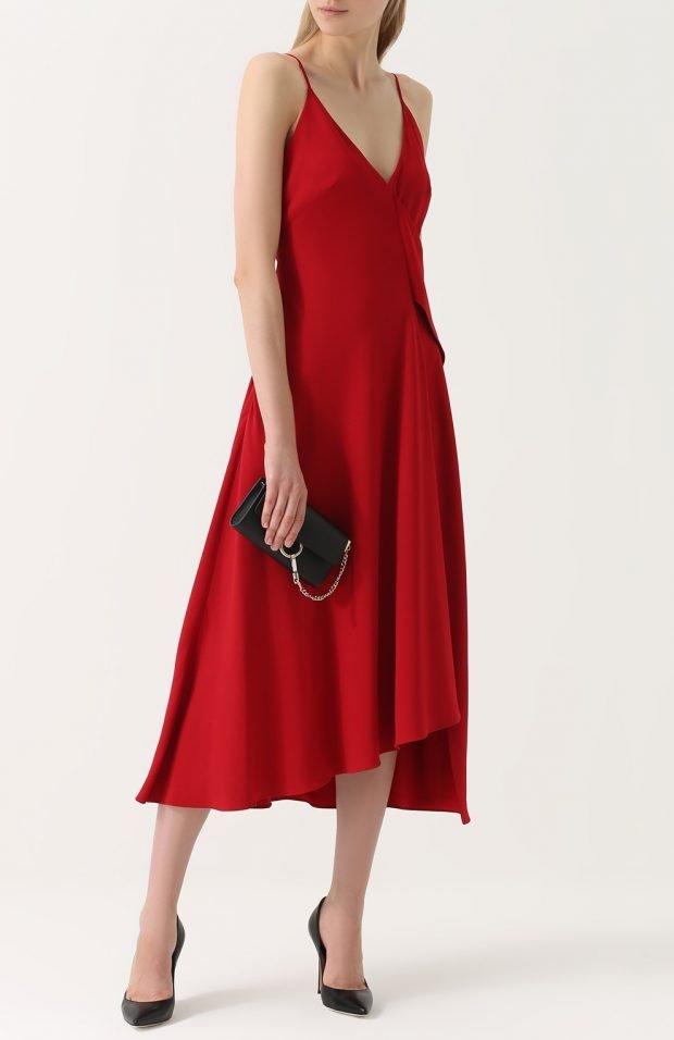 красное платье миди для базового гардероба