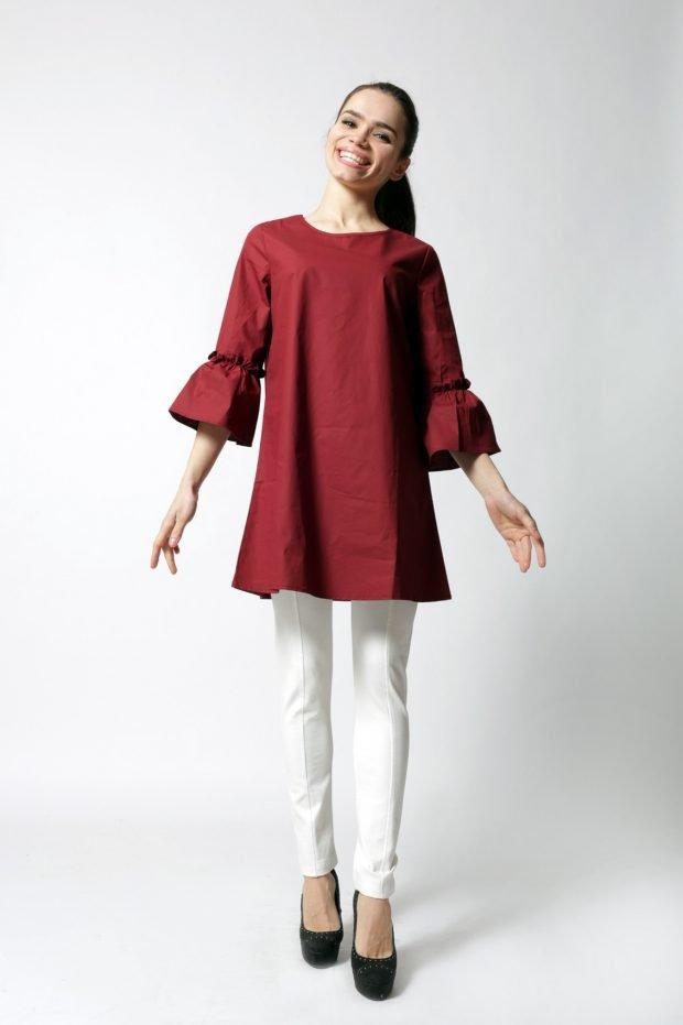 туника цвета бордо для базового гардероба