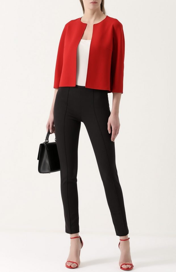 укороченный красный пиджак для базового гардероба