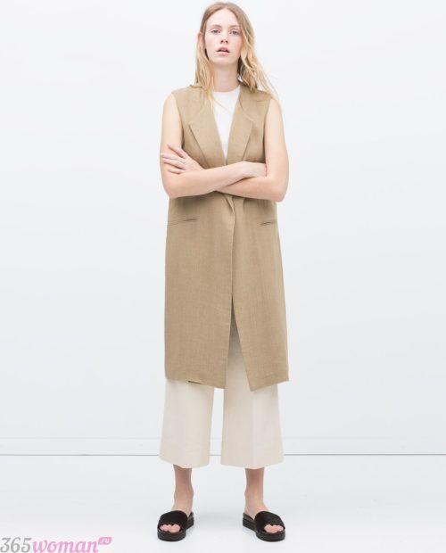 с чем носить удлиненный жилет