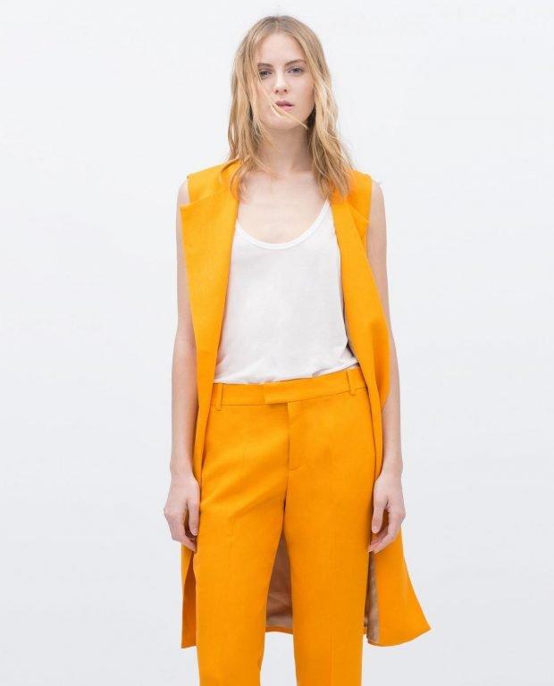 с чем носить удлиненный жилет в деловом стиле