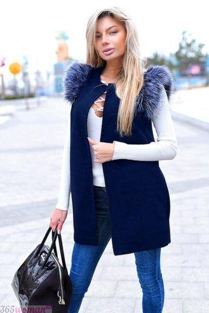 с чем носить удлиненный жилет зимой