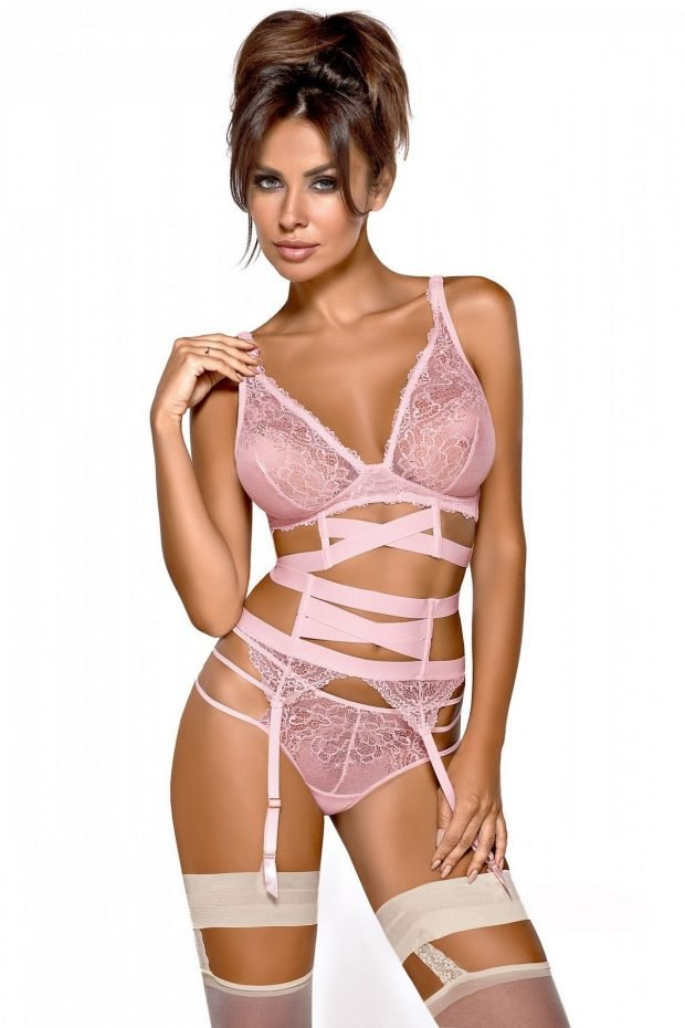 модное сексуальное нижнее белье розового цвета и чулки