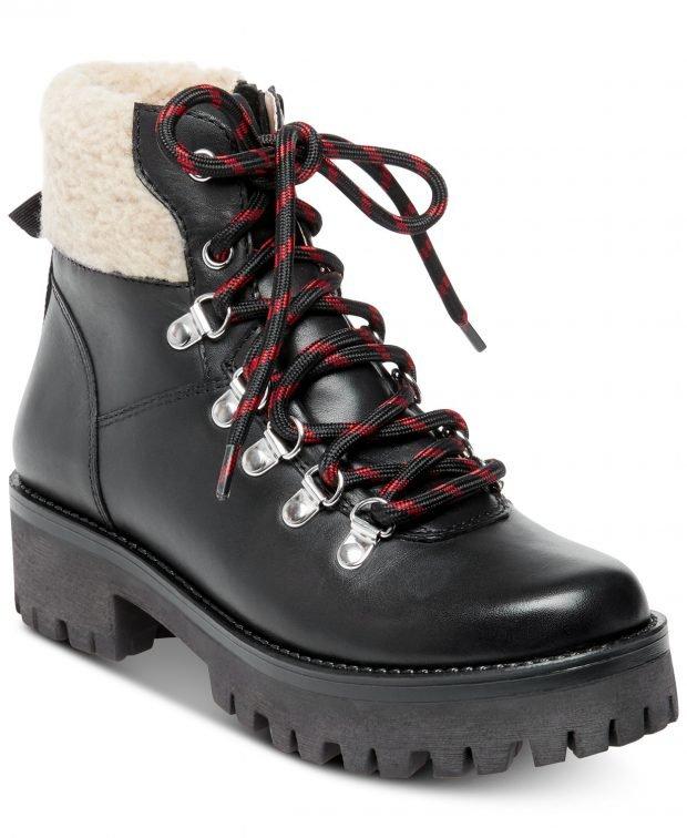женские ботинки осень-зима 2021: черные тракторная подошва