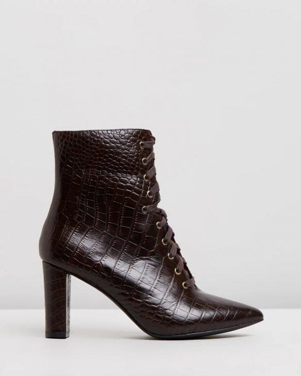 змеиная кожа черные на шнурках