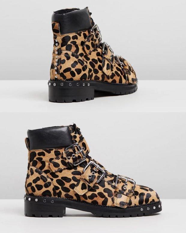леопардовые с ремнями на каблуке