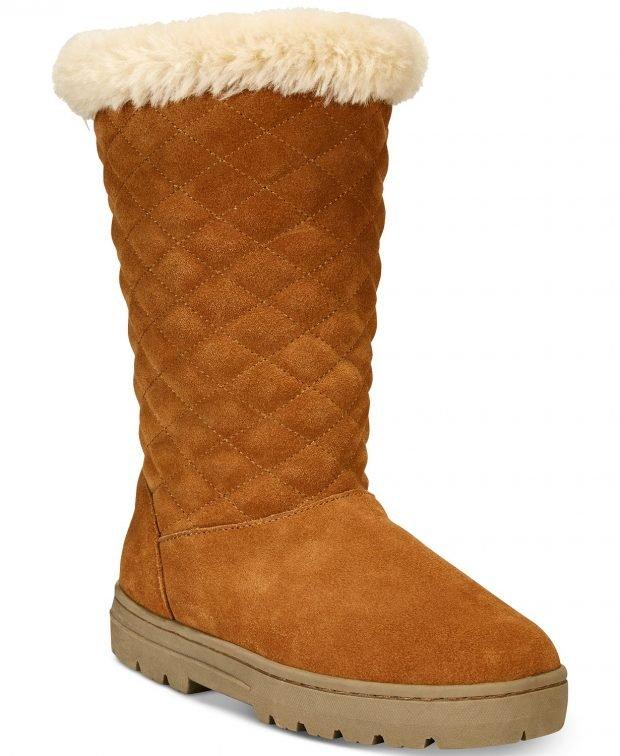 женские ботинки осень-зима: коричневые стеганные