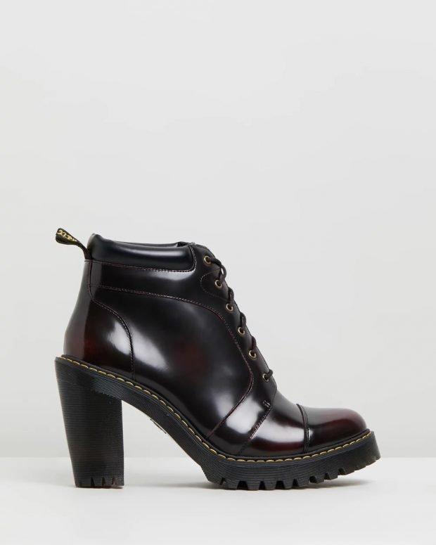 черные высокие толстый каблук шнурованные
