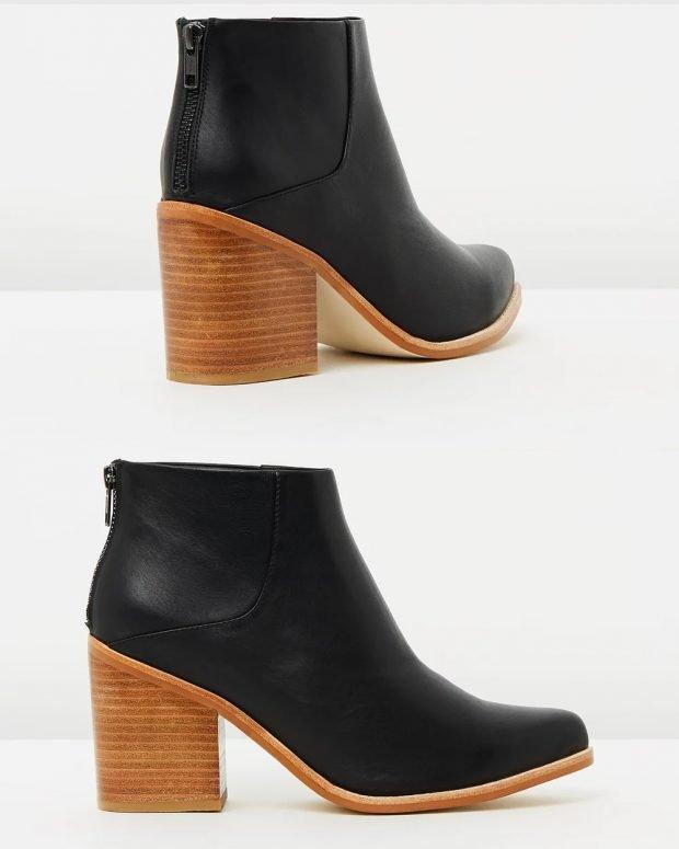 черные коричневый толстый каблук