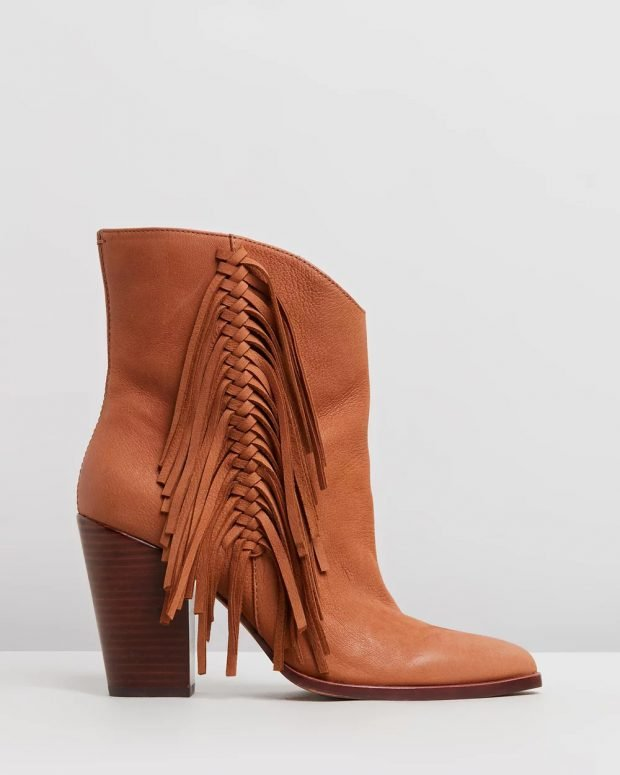 коричневые ковбойские на толстом каблуке
