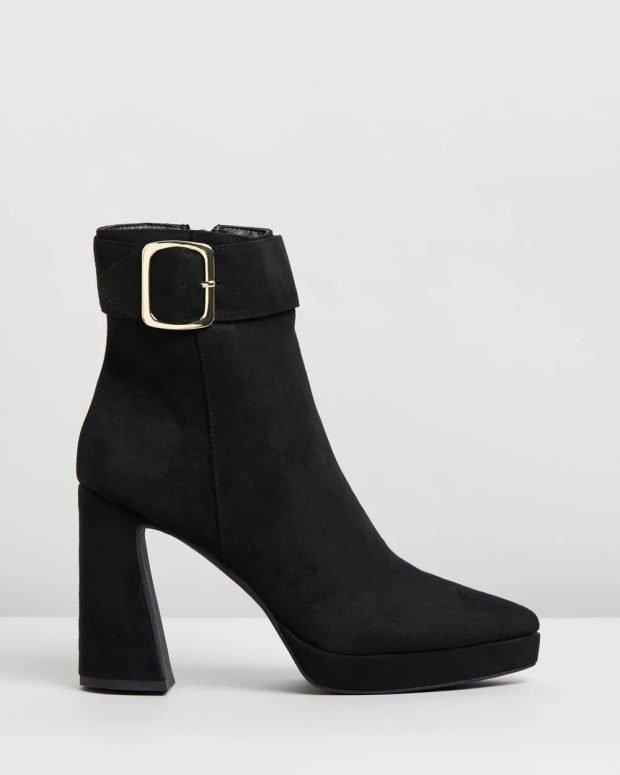 черные на толстом асимметричном каблуке