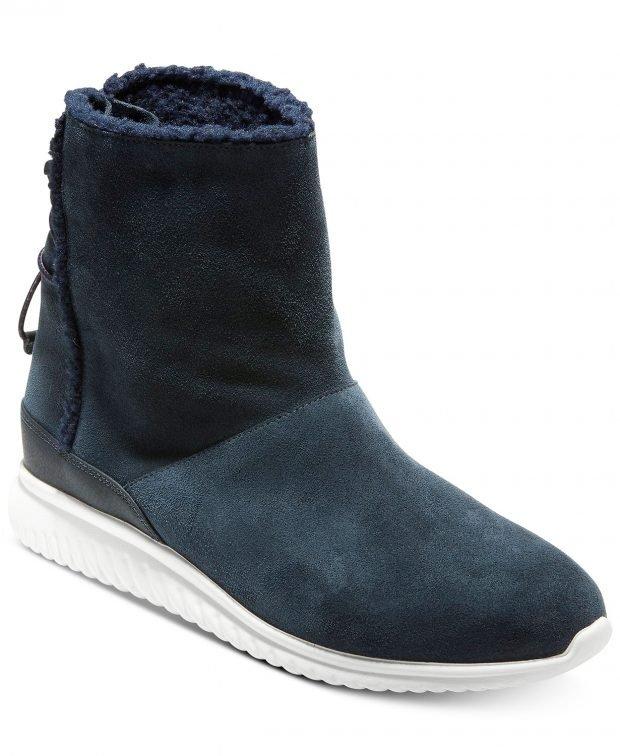 женские ботинки осень-зима: темно-синие белая подошва