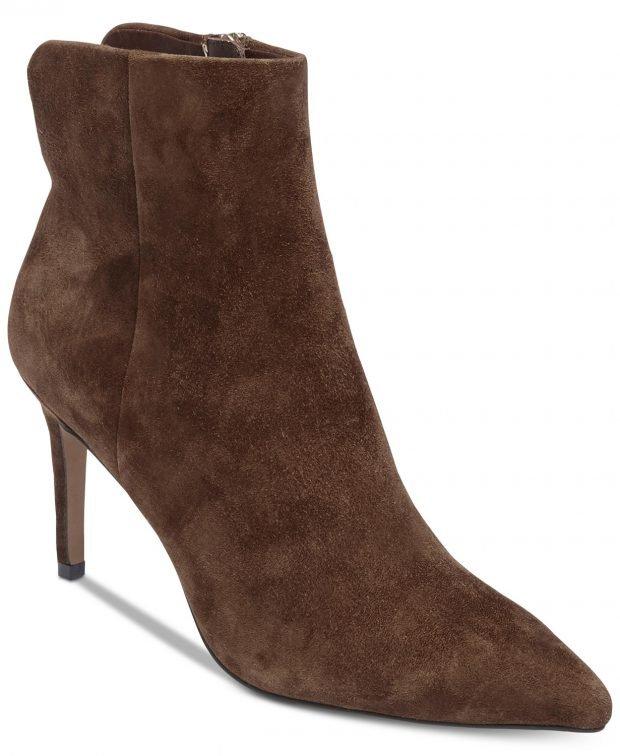 женские ботинки осень-зима 2022: шоколадные на каблуке