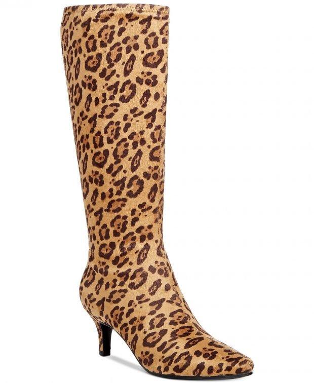 женские ботинки осень-зима 2022: леопардовые на каблуке