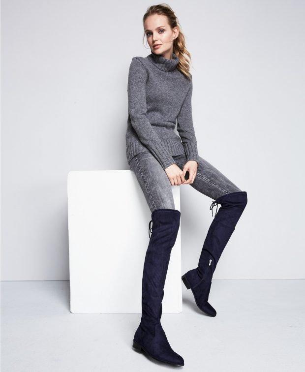 женские ботинки осень-зима 2021: темно-синие