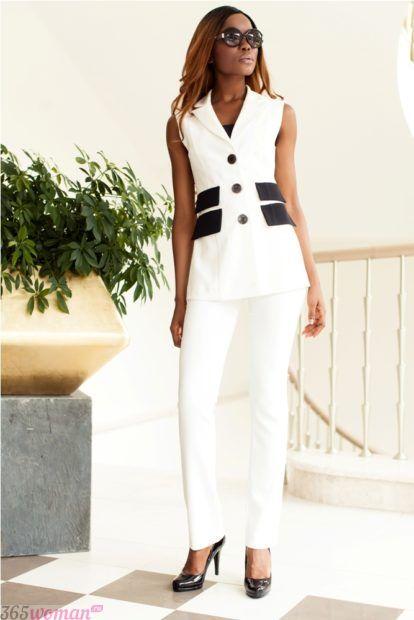 модные костюмы без рукавов белого цвета