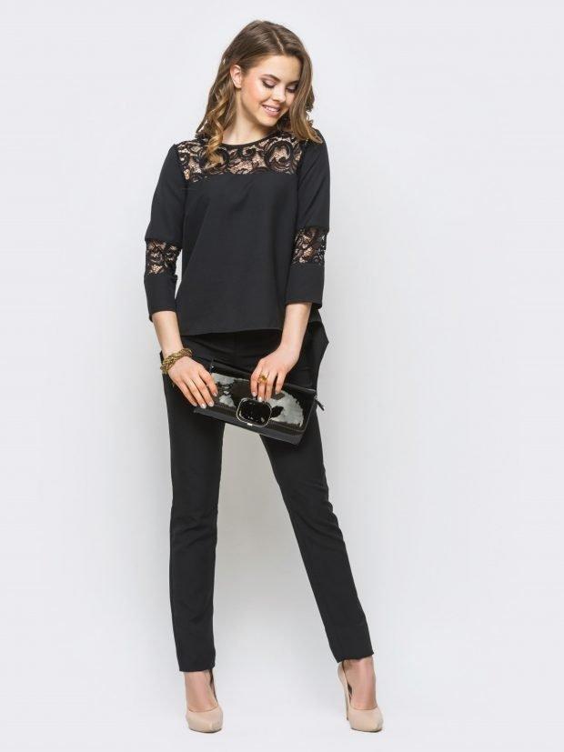 женские костюмы 2019 2020: черный с укороченными брюками