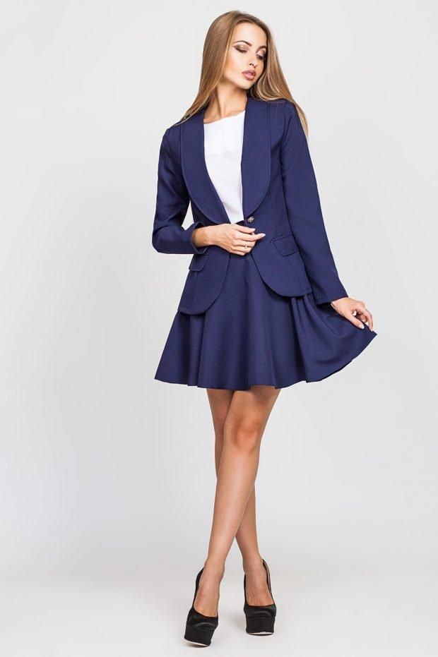 платье с юбкой синий