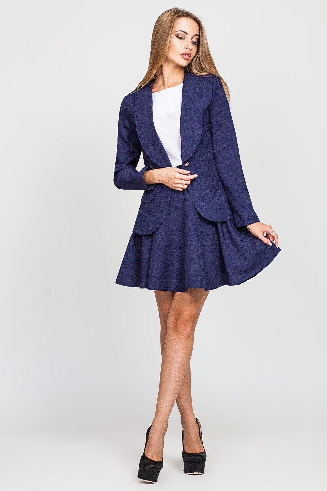 модные костюмы платье с юбкой синий
