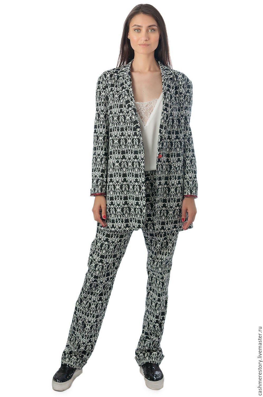 удлиненный пиджак с геометрическим узором женский 2018