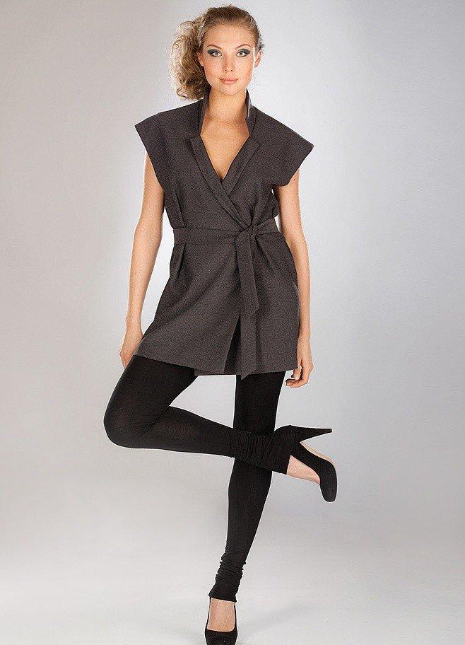 серый пиджак женский без рукавов с поясом 2018