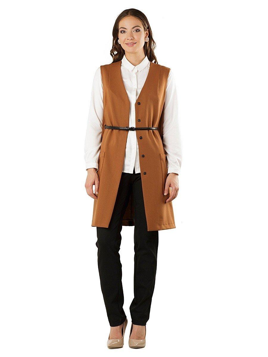 стильный бежевый пиджак женский без рукавов с ремнем 2018