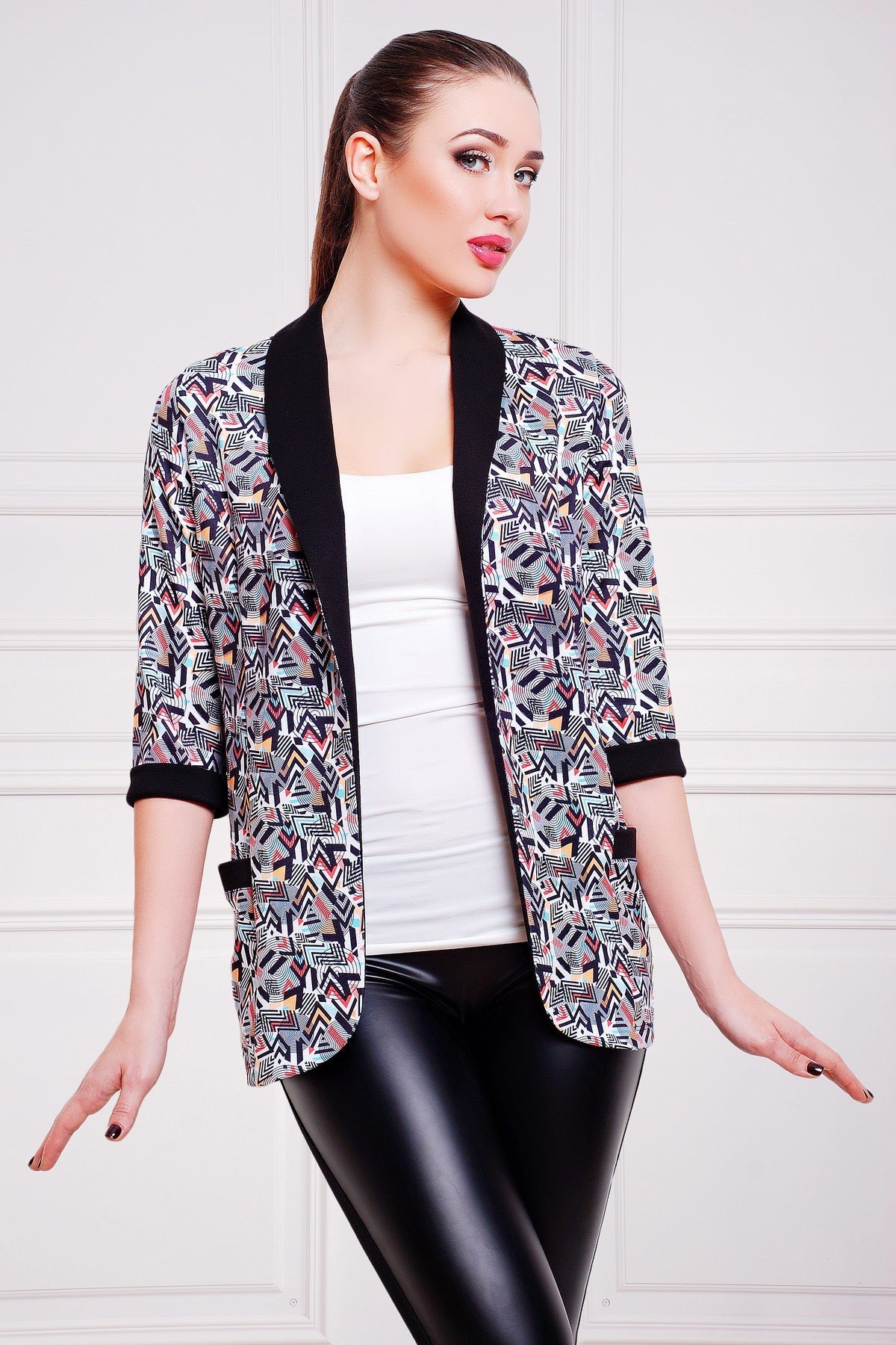 удлиненный пиджак с принтом женский 2018