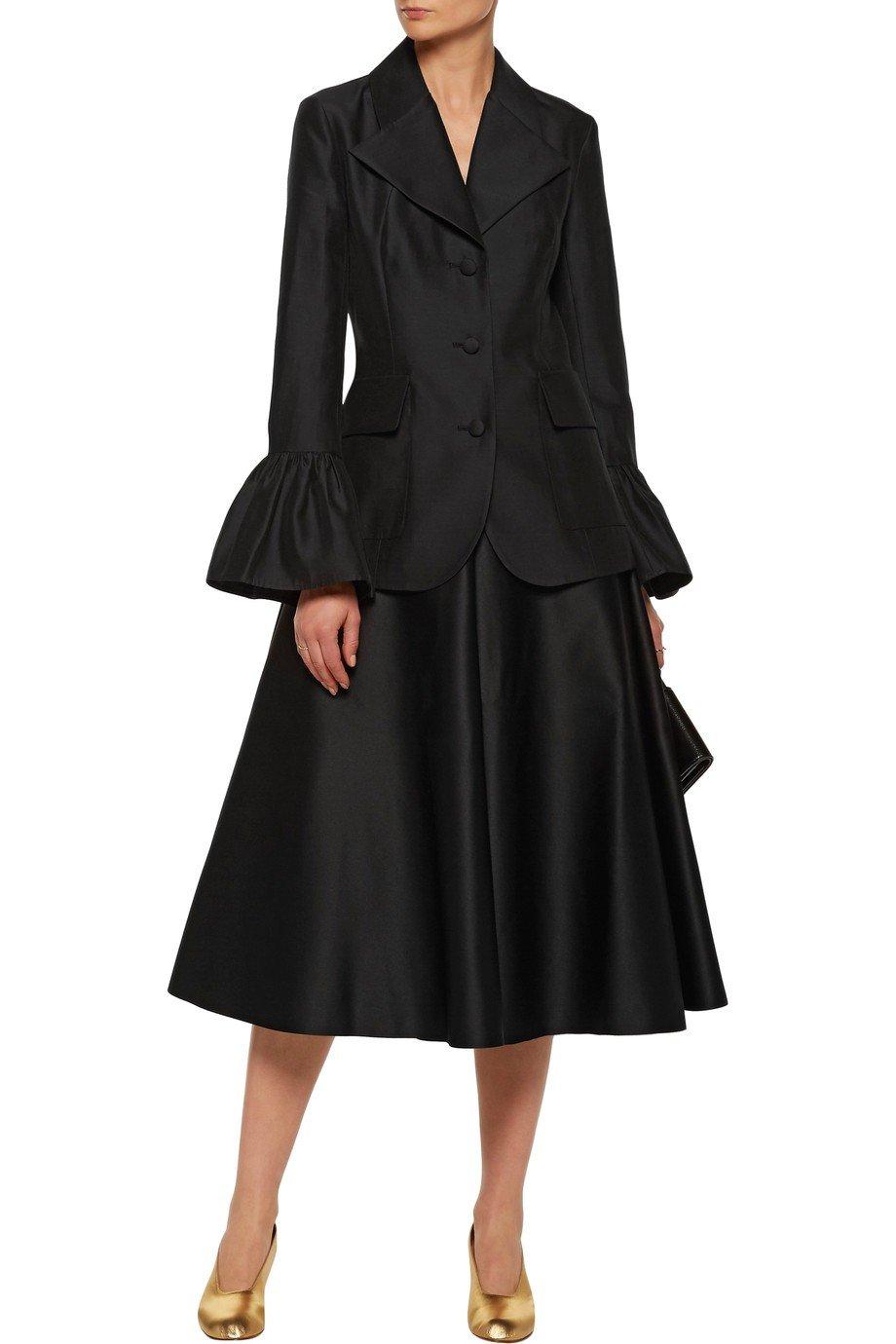 черный пиджак пеплум с блеском женский 2018