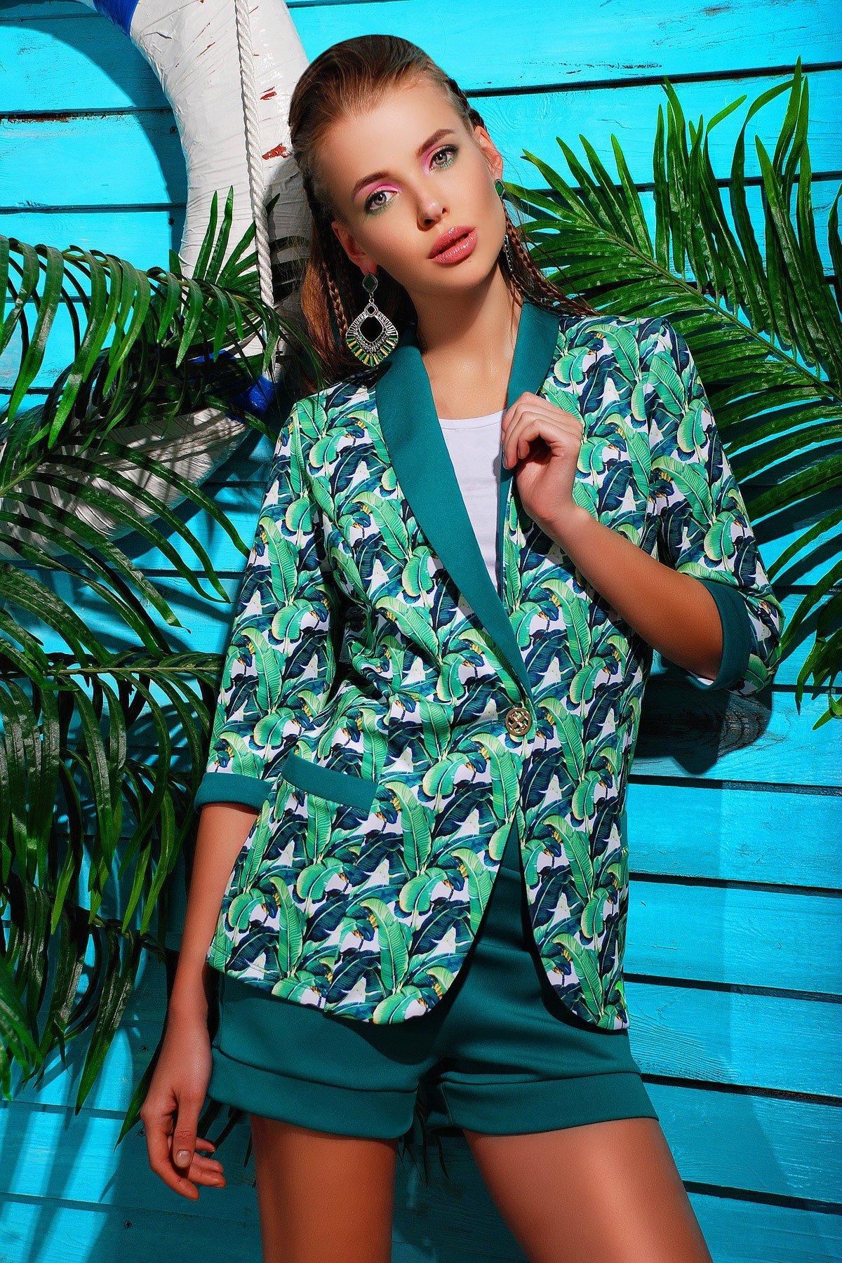 модный зеленый пиджак 2018 года яркий принт для женщины
