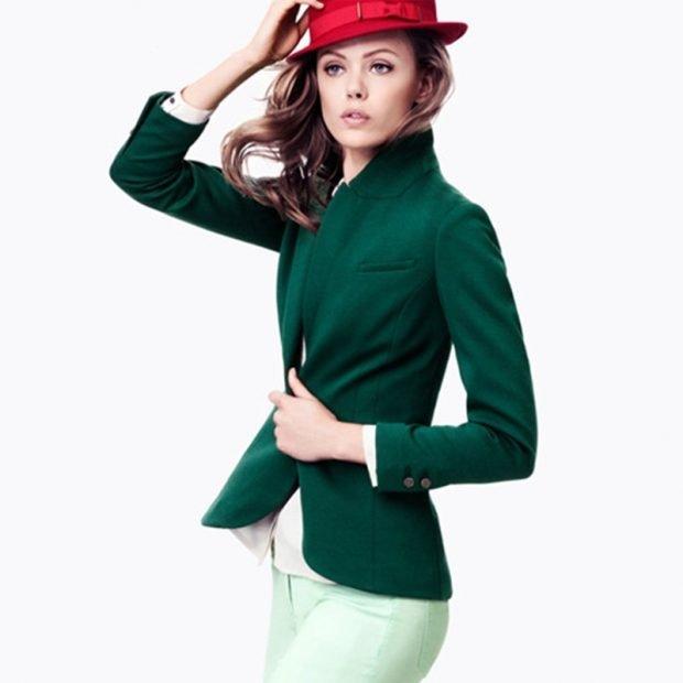 модные женские пиджаки 2020: зеленый
