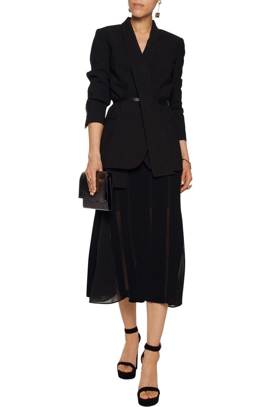 черный удлиненный пиджак с поясом женский 2018