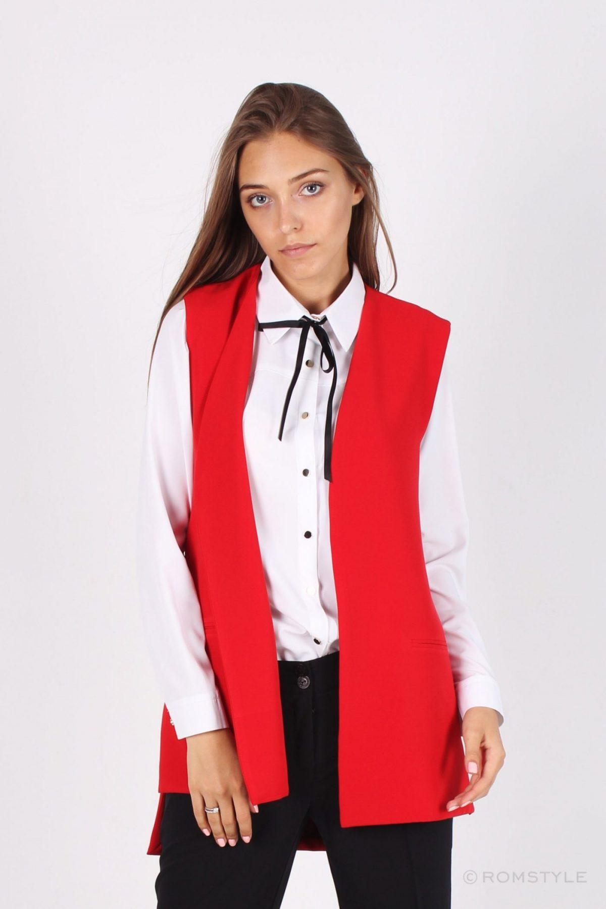 женский красный пиджак без рукавов 2018