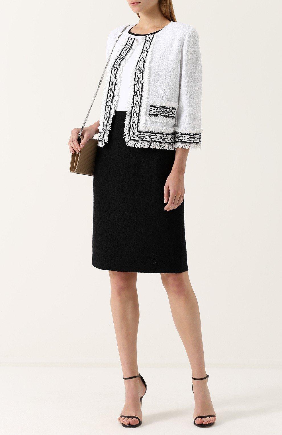 модный белый пиджак женский с черными элементами 2018 года