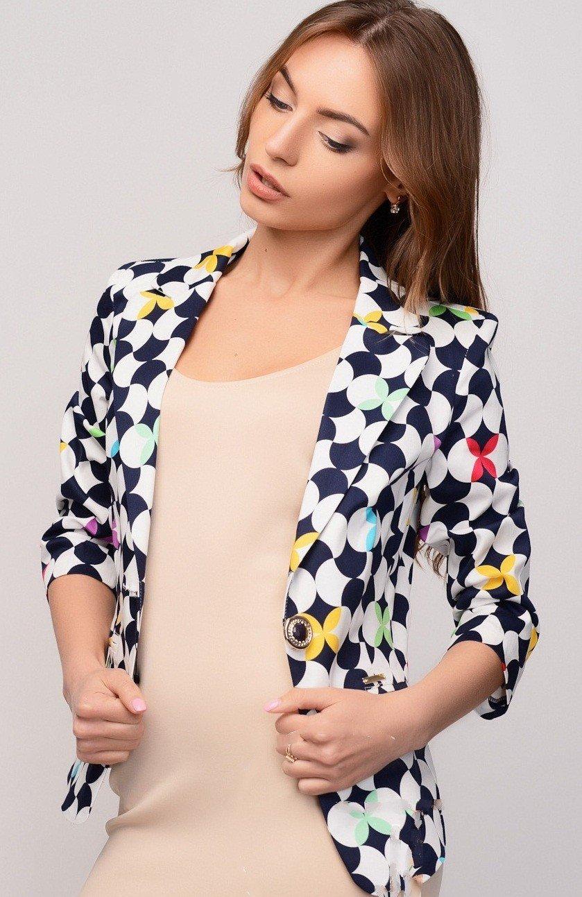 женский стильный пиджак 2018 геометричный принт фото новинки модные тенденции