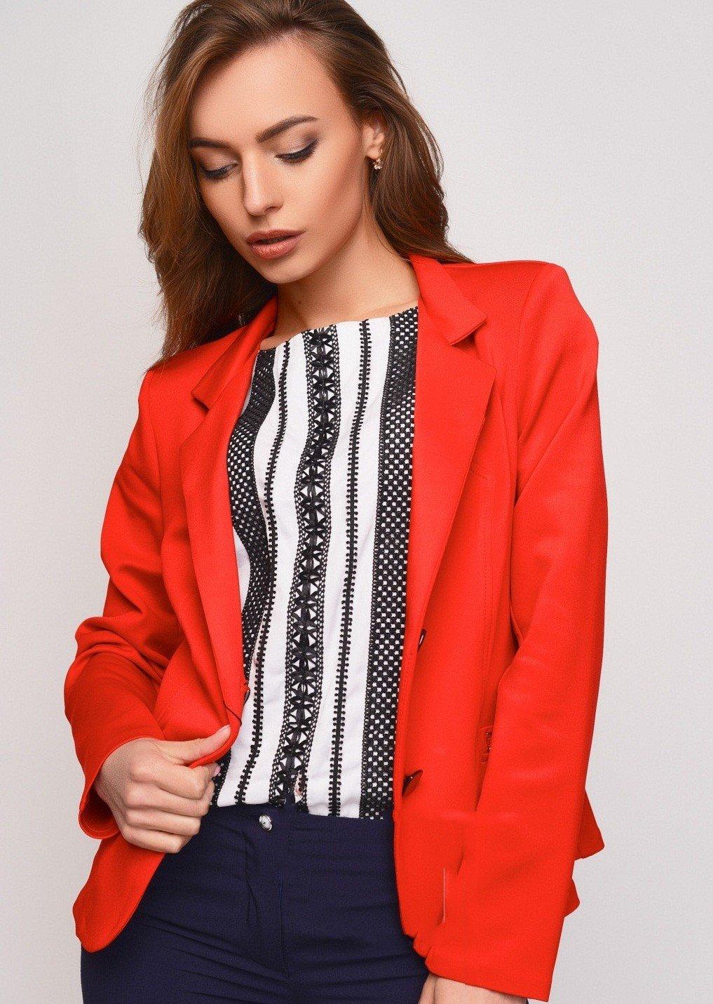 красный удлиненный пиджак женский 2018