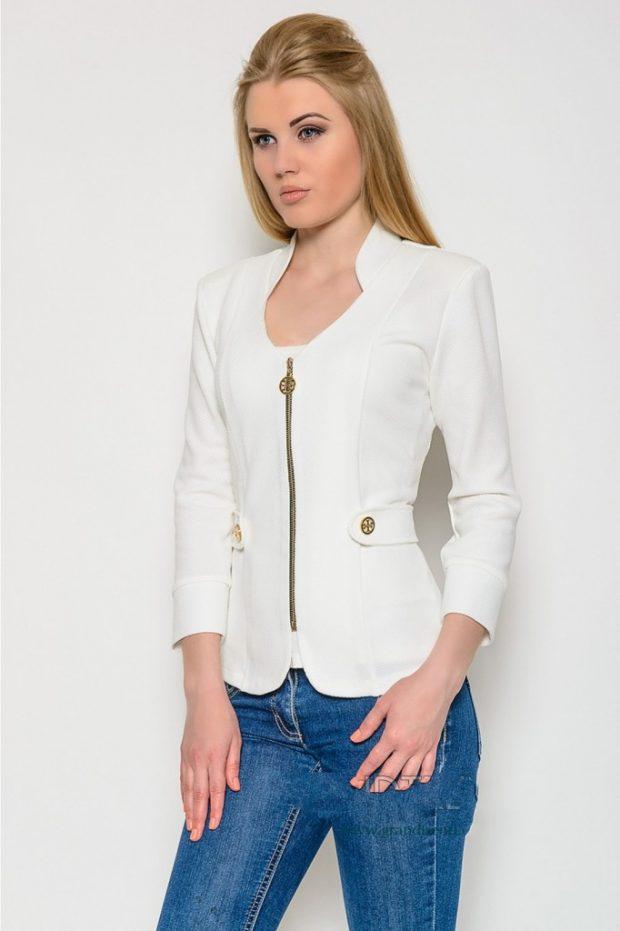 модный белый пиджак женский на замке 2020 2021