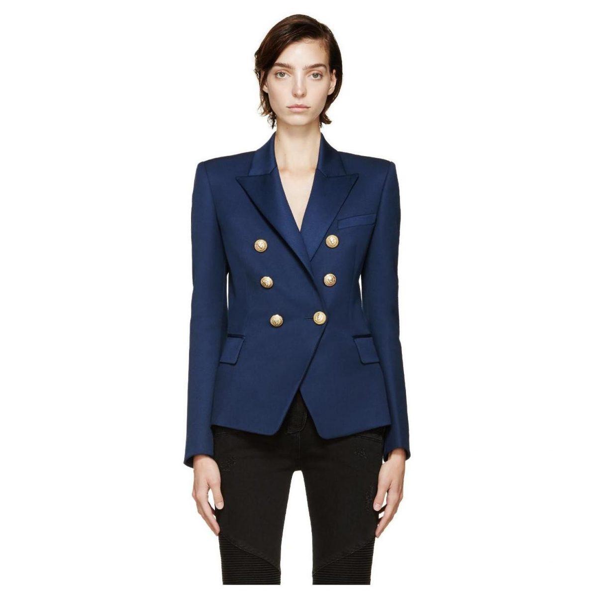 синий двубортный пиджак с металлическими пуговицами женский 2018 фото новинки