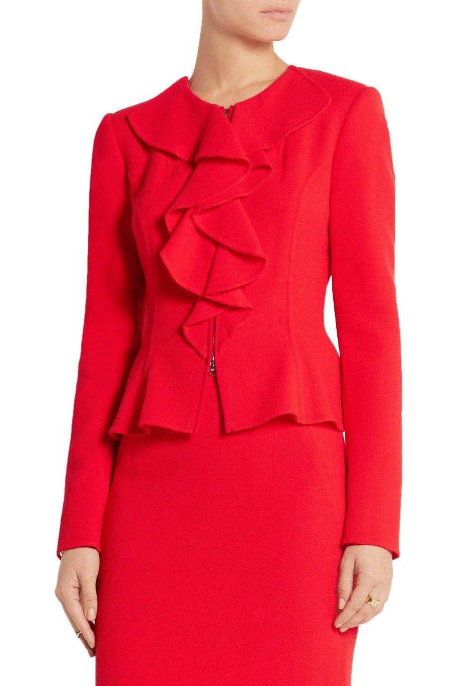 красный пиджак пеплум с воланами женский 2018