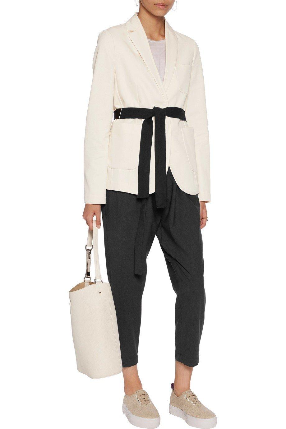 белый пиджак с черным поясом женский 2018