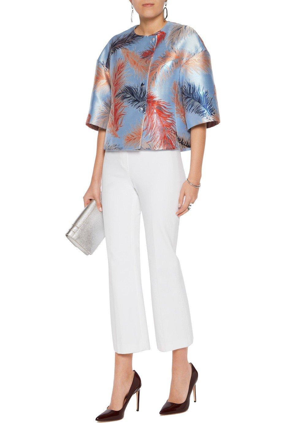 атласный пиджаки оверсайз с растительным принтом женский модный в 2018 году