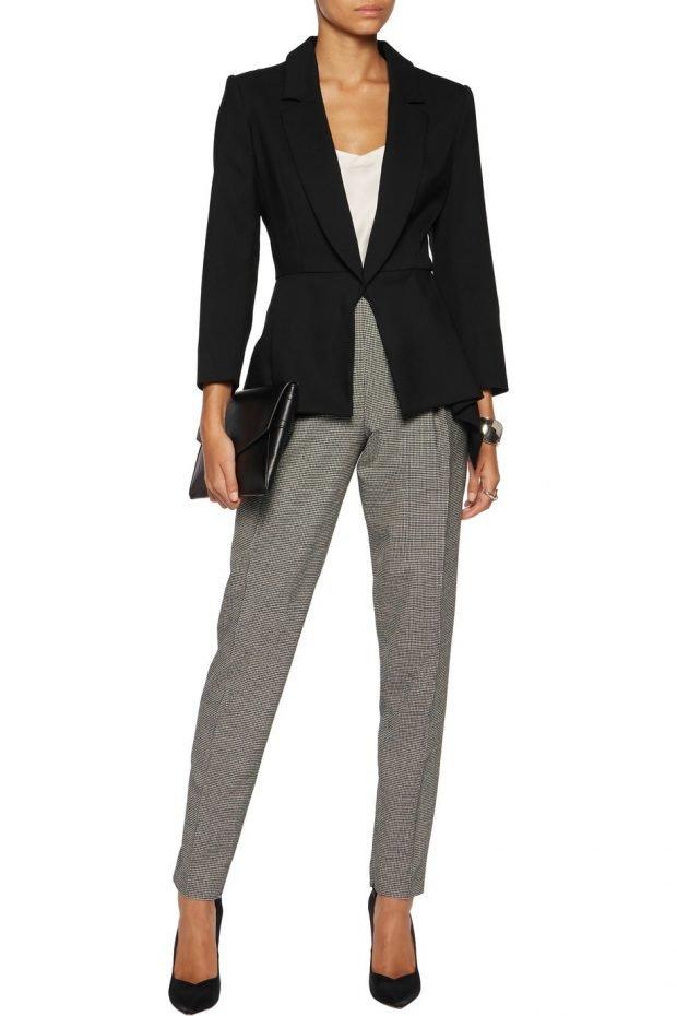 модные женские пиджаки 2021: черный на одной пуговице